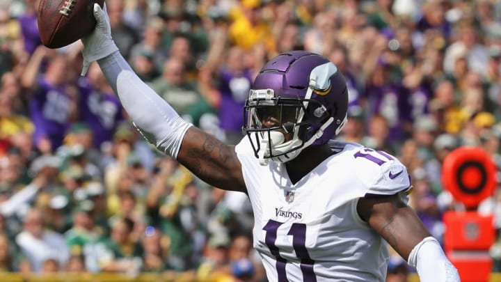 GREEN BAY, WI - SEPTEMBER 16:  Laquon Treadwell #11 of the Minnesota Vikings celebrates a touchdown catch against the Green Bay Packers at Lambeau Field on September 16, 2018 in Green Bay, Wisconsin. The Vikings and the Packers tied 29-29 after overtime.  (Photo by Jonathan Daniel/Getty Images)