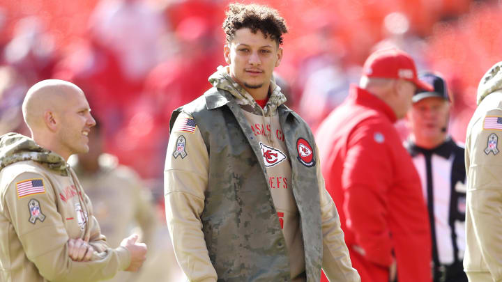 KANSAS CITY, MISSOURI - NOVEMBER 03: Patrick Mahomes #15 of the Kansas City Chiefs looks on before the game against the Minnesota Vikings at Arrowhead Stadium on November 03, 2019 in Kansas City, Missouri. (Photo by Jamie Squire/Getty Images)