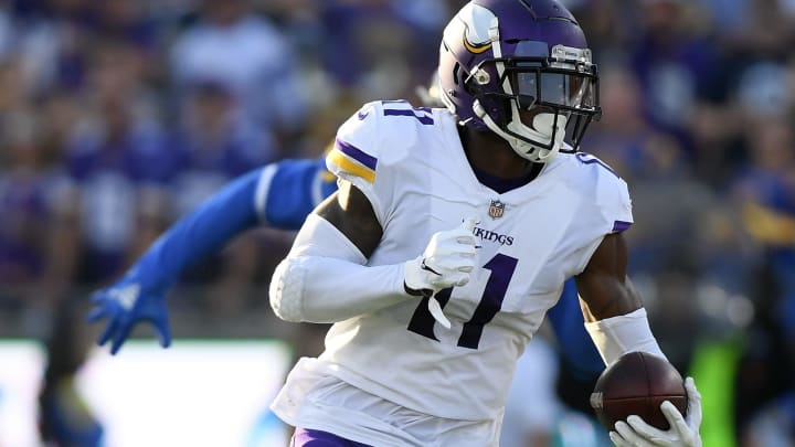 LOS ANGELES, CA - SEPTEMBER 27:  Laquon Treadwell #11 of the Minnesota Vikings runs after his catch against the Los Angeles Rams at Los Angeles Memorial Coliseum on September 27, 2018 in Los Angeles, California.  (Photo by Harry How/Getty Images)