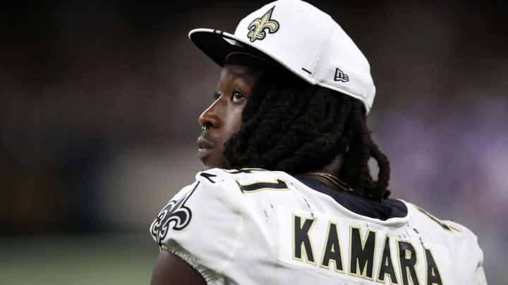 NEW ORLEANS, LOUISIANA - AUGUST 09: Alvin Kamara #41 of the New Orleans Saints during a preseason  game at the Mercedes Benz Superdome on August 09, 2019 in New Orleans, Louisiana. (Photo by Chris Graythen/Getty Images)
