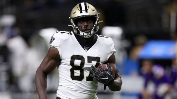 NEW ORLEANS, LOUISIANA - AUGUST 09: Jared Cook #87 of the New Orleans Saints during a preseason  game at the Mercedes Benz Superdome on August 09, 2019 in New Orleans, Louisiana. (Photo by Chris Graythen/Getty Images)