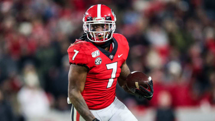 ATHENS, GA - NOVEMBER 09: D'Andre Swift #7 of the Georgia Bulldogs rushes during a game against the Missouri Tigers at Sanford Stadium on November 9, 2019 in Athens, Georgia. (Photo by Carmen Mandato/Getty Images)