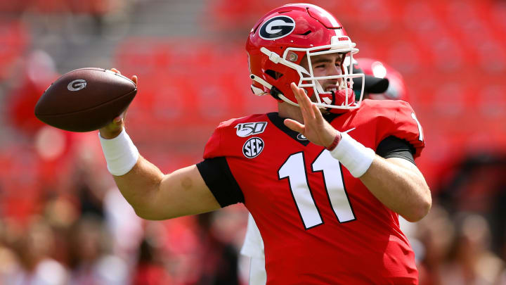 ATHENS, GA - SEPTEMBER 7: Quarterback Jake Fromm #11 of the Georgia Bulldogs warms up prior to a game against the Murray State Racers at Sanford Stadium on September 7, 2019 in Athens, Georgia. (Photo by Carmen Mandato/Getty Images)
