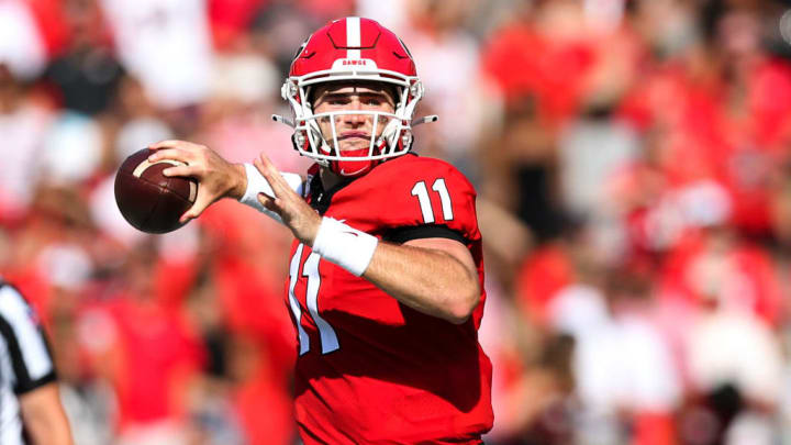 ATHENS, GA - SEPTEMBER 7: Quarterback Jake Fromm #11 of the Georgia Bulldogs throws the ball during the first half vs the Murray State Racers at Sanford Stadium on September 7, 2019 in Athens, Georgia. (Photo by Carmen Mandato/Getty Images)