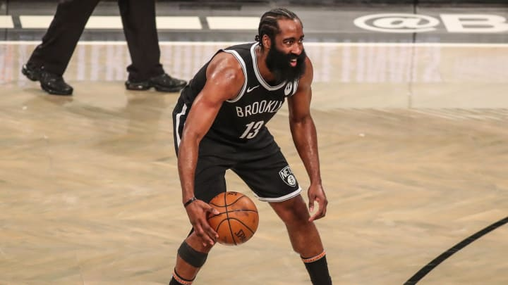 Jun 19, 2021; Brooklyn, New York, USA; Brooklyn Nets guard James Harden (13).