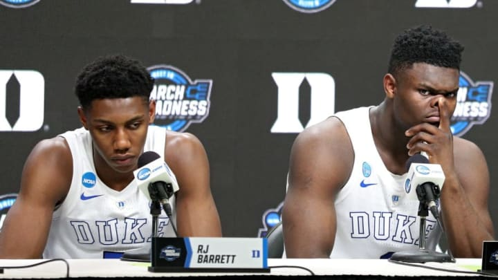 WASHINGTON, DC - MARCH 31: RJ Barrett #5 and Zion Williamson #1 and of the Duke Blue Devils speak to the media after their teams 68-67 loss to the Michigan State Spartans in the East Regional game of the 2019 NCAA Men's Basketball Tournament at Capital One Arena on March 31, 2019 in Washington, DC. (Photo by Patrick Smith/Getty Images)