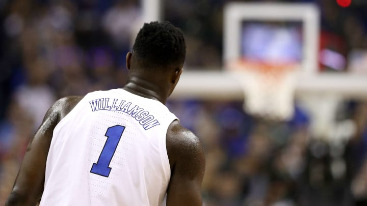 WASHINGTON, DC - MARCH 31:  Zion Williamson #1 of the Duke Blue Devils looks on against the Michigan State Spartans during the first half in the East Regional game of the 2019 NCAA Men's Basketball Tournament at Capital One Arena on March 31, 2019 in Washington, DC. (Photo by Patrick Smith/Getty Images)