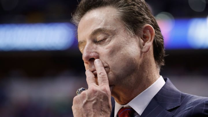 INDIANAPOLIS, IN - MARCH 19:  Head coach Rick Pitino of the Louisville Cardinals reacts to their 69-73 loss to the Michigan Wolverines during the second round of the 2017 NCAA Men's Basketball Tournament at the Bankers Life Fieldhouse on March 19, 2017 in Indianapolis, Indiana.  (Photo by Joe Robbins/Getty Images)