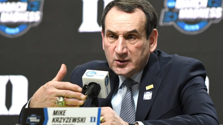 WASHINGTON, DC - MARCH 31:  Head coach Mike Krzyzewski of the Duke Blue Devils addresses the media after the East Regional game of the 2019 NCAA Men's Basketball Tournament against the Michigan State Spartans at Capital One Arena on March 29, 2019 in Washington, DC.  (Photo by Mitchell Layton/Getty Images)