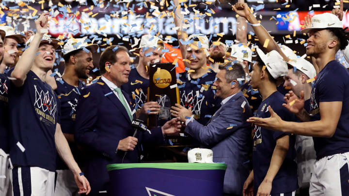 MINNEAPOLIS, MINNESOTA - APRIL 08:  The Virginia Cavaliers celebrate with the trophy after their 85-77 win over the Texas Tech Red Raiders during the 2019 NCAA men's Final Four National Championship game at U.S. Bank Stadium on April 08, 2019 in Minneapolis, Minnesota. (Photo by Streeter Lecka/Getty Images)