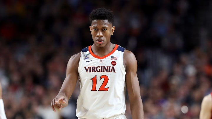 MINNEAPOLIS, MINNESOTA - APRIL 08:  De'Andre Hunter #12 of the Virginia Cavaliers reacts against the Texas Tech Red Raiders in the first half during the 2019 NCAA men's Final Four National Championship game at U.S. Bank Stadium on April 08, 2019 in Minneapolis, Minnesota. (Photo by Streeter Lecka/Getty Images)