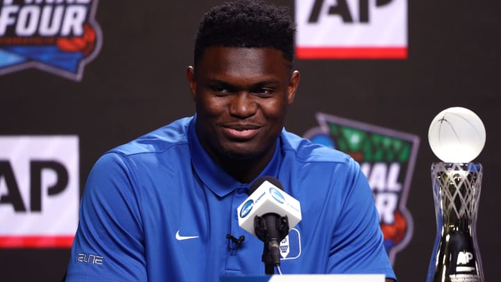 MINNEAPOLIS, MINNESOTA - APRIL 05: Zion Williamson of the Duke Blue Devils speaks during a press conference after being awarded the AP Player of the Year award prior to the 2019 NCAA men's Final Four at U.S. Bank Stadium on April 5, 2019 in Minneapolis, Minnesota. (Photo by Mike Lawrie/Getty Images)