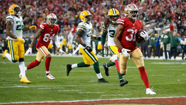 San Francisco 49ers RB Raheem Mostert finding the endzone against the Green Bay Packers in the NFC Championship Game.
