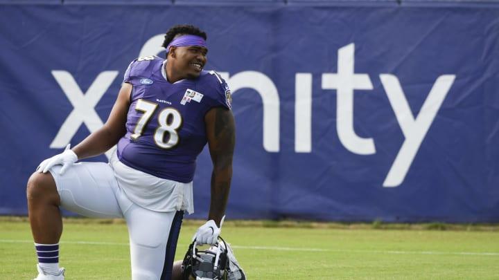 Aug 17, 2020; Owings Mills, Maryland, USA;  Baltimore Ravens offensive tackle Orlando Brown Jr.