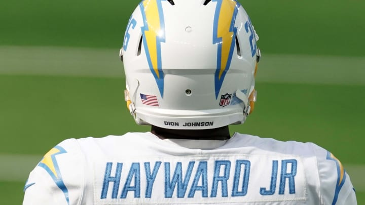 Sep 27, 2020; Inglewood, California, USA; Los Angeles Chargers cornerback Casey Hayward (26) wears