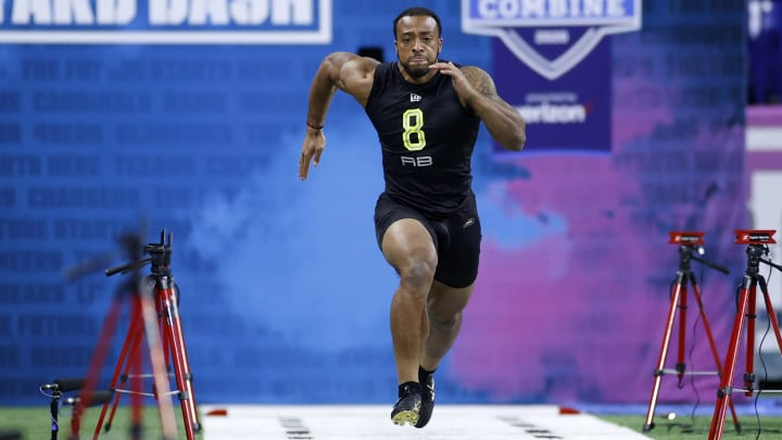 AJ Dillon at the 2020 NFL Combine before being drafted by the Packers.