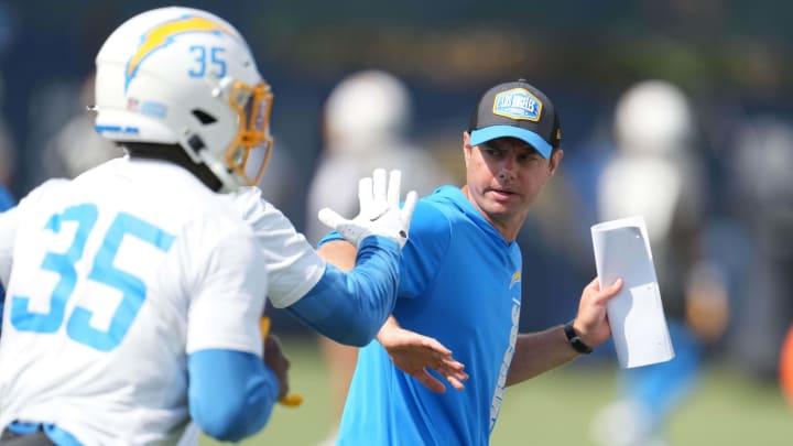 Jun 15, 2021; Costa Mesa, CA, USA; Los Angeles Chargers coach Brandon Staley