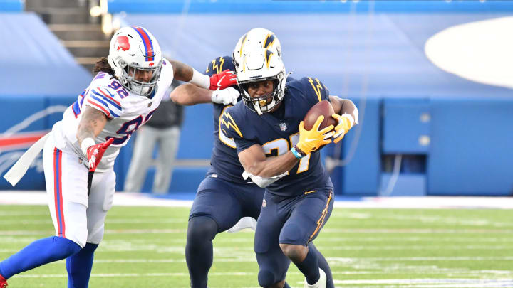 Los Angeles Chargers running back Joshua Kelley (27)