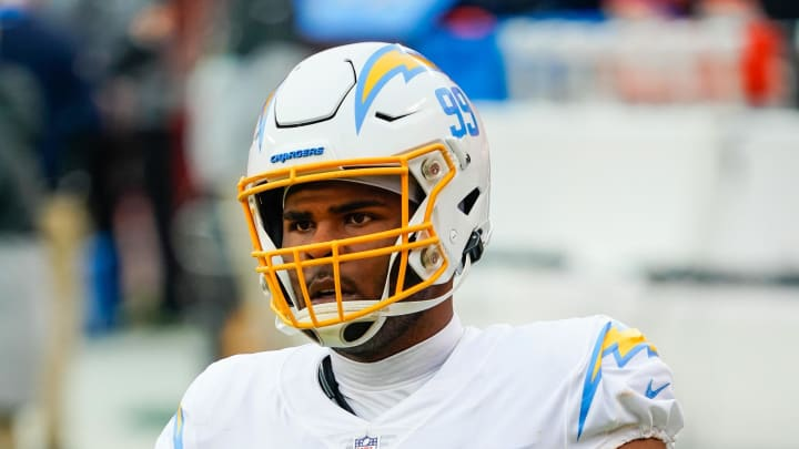 Jan 3, 2021; Kansas City, Missouri, USA; Los Angeles Chargers defensive tackle Jerry Tillery (99)