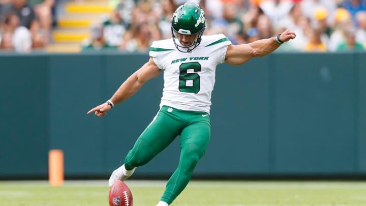 Aug 21, 2021; Green Bay, Wisconsin, USA;  New York Jets kicker Matt Ammendola (6) during the game