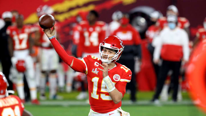 Feb 4, 2021; Tampa, FL, USA;  Kansas City Chiefs quarterback Patrick Mahomes (15) against the Tampa