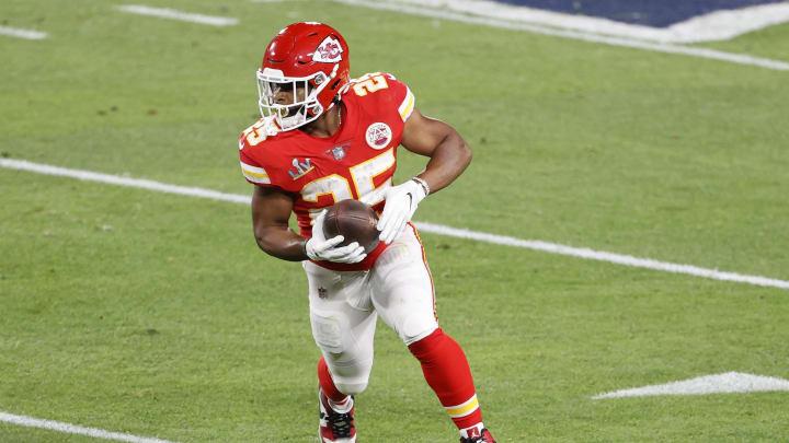 Feb 7, 2020; Tampa, FL, USA; Kansas City Chiefs running back Clyde Edwards-Helaire (25)