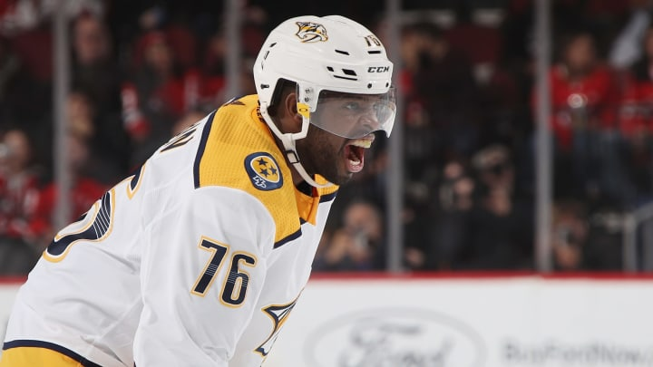 NEWARK, NEW JERSEY - OCTOBER 25: P.K. Subban #76 of the Nashville Predators yells at teammates during the first period against the New Jersey Devils at the Prudential Center on October 25, 2018 in Newark, New Jersey. (Photo by Bruce Bennett/Getty Images)