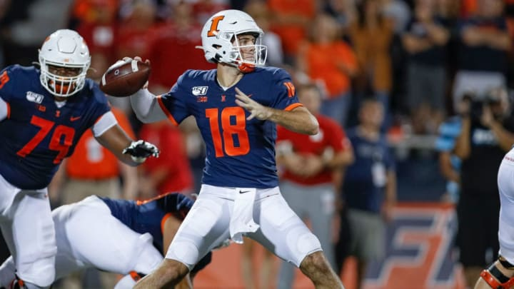 CHAMPAIGN, IL - SEPTEMBER 21: Brandon Peters #18 of the Illinois Fighting Illin throws the ball during the game against the Nebraska Cornhuskers at Memorial Stadium on September 21, 2019 in Champaign, Illinois. (Photo by Michael Hickey/Getty Images)