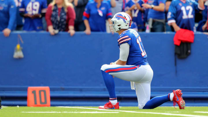 ORCHARD PARK, NY - SEPTEMBER 29:  Josh Allen #17 of the Buffalo Bills reacts after throwing an interception during the second half against the New England Patriots at New Era Field on September 29, 2019 in Orchard Park, New York.  Patriots beat the Bills 16 to 10. (Photo by Timothy T Ludwig/Getty Images)