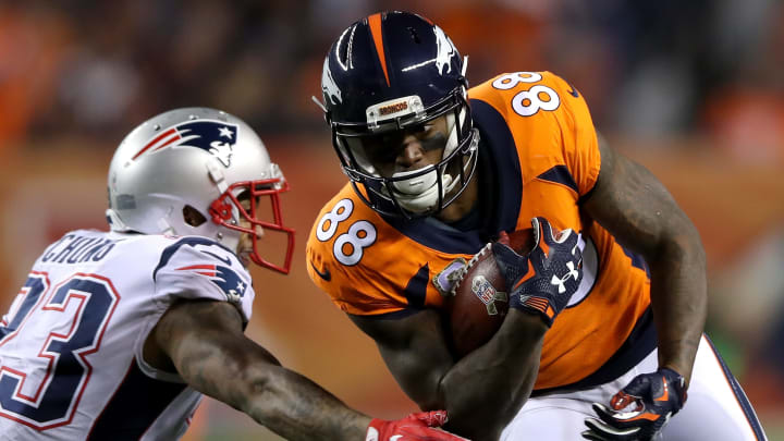 DENVER, CO - NOVEMBER 12:  Demaryius Thomas #88 of the Denver Broncos carries the ball against Patrick Chung #23 of the New England Patriots at Sports Authority Field at Mile High on November 12, 2017 in Denver, Colorado.  (Photo by Matthew Stockman/Getty Images)
