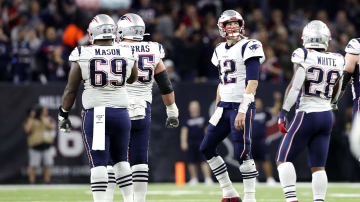 HOUSTON, TEXAS - DECEMBER 01: Tom Brady #12 of the New England Patriots reacts against the Houston Texans during the second quarter in the game at NRG Stadium on December 01, 2019 in Houston, Texas. (Photo by Tim Warner/Getty Images)