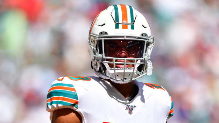 MIAMI, FLORIDA - SEPTEMBER 15: Minkah Fitzpatrick #29 of the Miami Dolphins looks on in the third quarter against the \a at Hard Rock Stadium on September 15, 2019 in Miami, Florida. (Photo by Mark Brown/Getty Images)