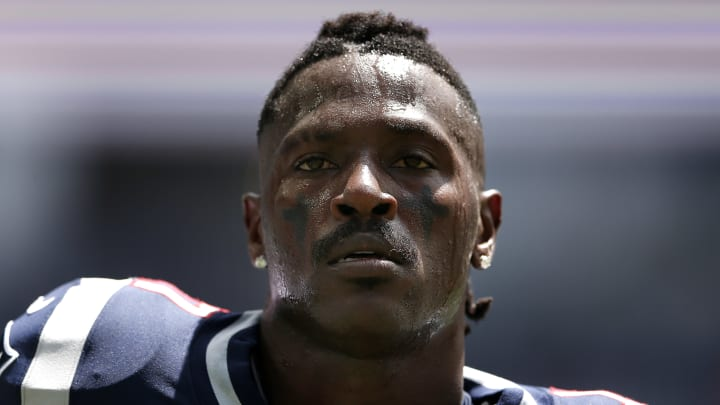 MIAMI, FLORIDA - SEPTEMBER 15:  Antonio Brown #17 of the New England Patriots looks on prior to the game between the Miami Dolphins and the New England Patriots at Hard Rock Stadium on September 15, 2019 in Miami, Florida. (Photo by Michael Reaves/Getty Images)