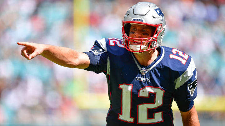 MIAMI, FLORIDA - SEPTEMBER 15: Tom Brady #12 of the New England Patriots calls out signals in the third quarter against the Miami Dolphins at Hard Rock Stadium on September 15, 2019 in Miami, Florida. (Photo by Mark Brown/Getty Images)
