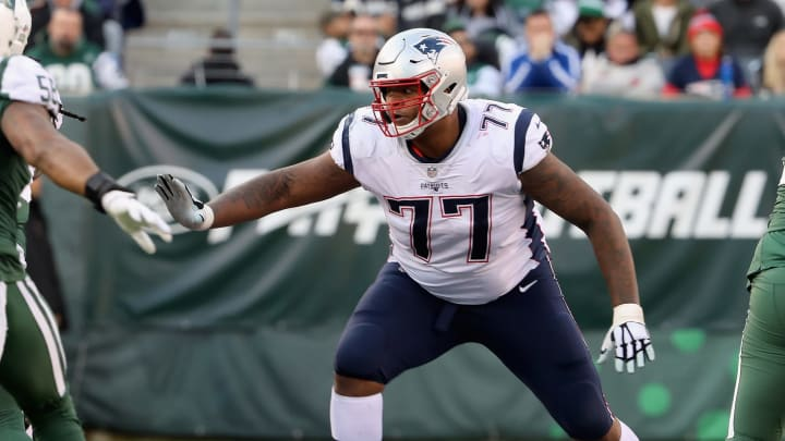 EAST RUTHERFORD, NJ - NOVEMBER 25:  (NEW YORK DAILIES OUT)    Trent Brown #77 of the New England Patriots in action against the New York Jets on November 25, 2018 at MetLife Stadium in East Rutherford, New Jersey. The Patriots defeated the Jets 27-13.  (Photo by Jim McIsaac/Getty Images)