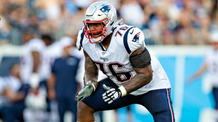 NASHVILLE, TN - AUGUST 17:  Isaiah Wynn #76 of the New England Patriots drops back to block during a game against the Tennessee Titans during week two of the preseason at Nissan Stadium on August 17, 2019 in Nashville, Tennessee.  The Patriots defeated the Titans 22-17.  (Photo by Wesley Hitt/Getty Images)