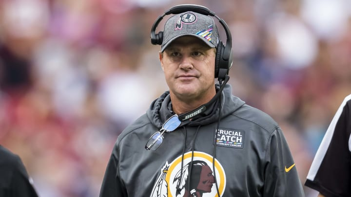 LANDOVER, MD - OCTOBER 06: Head coach Jay Gruden of the Washington Redskins looks on against the New England Patriots during the first half at FedExField on October 6, 2019 in Landover, Maryland. (Photo by Scott Taetsch/Getty Images)