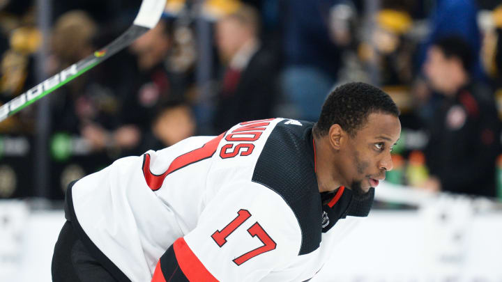BOSTON, MA - OCTOBER 12: Wayne Simmonds #17 of the New Jersey Devils during warmups prior to the start of the game against the Boston Bruins at TD Garden on October 12, 2019 in Boston, Massachusetts. (Photo by Kathryn Riley/Getty Images)