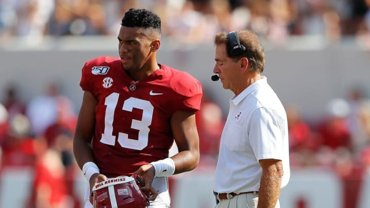 TUSCALOOSA, ALABAMA - SEPTEMBER 07:  Head coach Nick Saban of the Alabama Crimson Tide converses with Tua Tagovailoa #13 against the New Mexico State Aggies at Bryant-Denny Stadium on September 07, 2019 in Tuscaloosa, Alabama. (Photo by Kevin C. Cox/Getty Images)