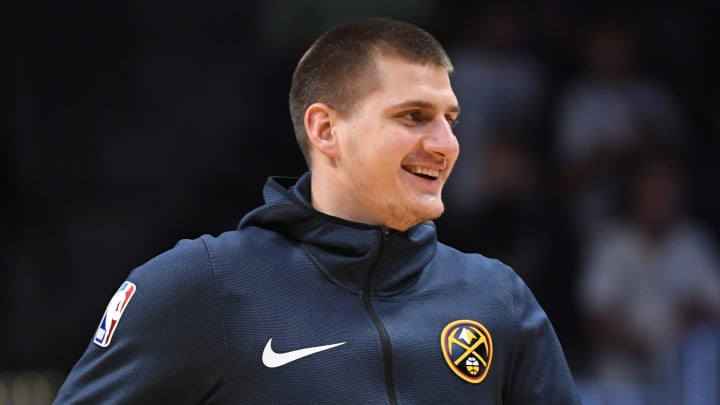 DENVER, CO - OCTOBER 29: Nikola Jokic #15 of the Denver Nuggets warms up before the game against the New Orleans Pelicans at Pepsi Center on October 29, 2018 in Denver, Colorado. NOTE TO USER: User expressly acknowledges and agrees that, by downloading and or using this photograph, User is consenting to the terms and conditions of the Getty Images License Agreement. (Photo by Justin Tafoya/Getty Images)