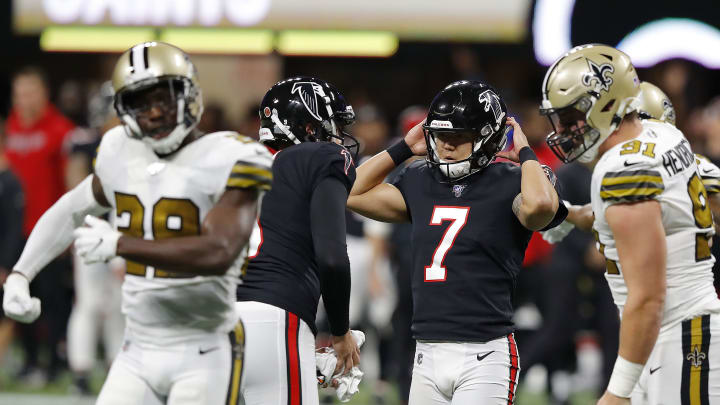 ATLANTA, GEORGIA - NOVEMBER 28:  Younghoe Koo #7 of the Atlanta Falcons reacts after missing a field goal against the New Orleans Saints during the second quarter at Mercedes-Benz Stadium on November 28, 2019 in Atlanta, Georgia. (Photo by Kevin C. Cox/Getty Images)