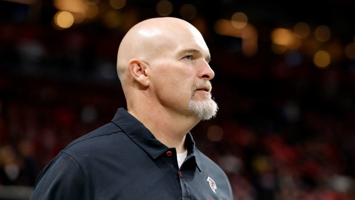ATLANTA, GEORGIA - NOVEMBER 28:  Head coach Dan Quinn of the Atlanta Falcons takes the field prior to the game against the New Orleans Saints at Mercedes-Benz Stadium on November 28, 2019 in Atlanta, Georgia. (Photo by Kevin C. Cox/Getty Images)