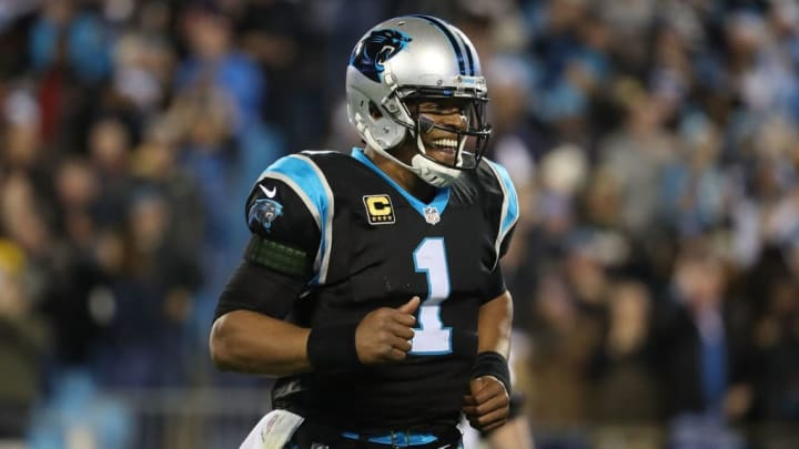 CHARLOTTE, NC - DECEMBER 17:  Cam Newton #1 of the Carolina Panthers reacts after a touchdown against the New Orleans Saints in the first quarter during their game at Bank of America Stadium on December 17, 2018 in Charlotte, North Carolina.  (Photo by Streeter Lecka/Getty Images)