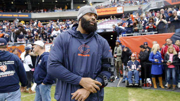 CHICAGO, ILLINOIS - OCTOBER 20: Akiem Hicks #96 of the Chicago Bears stands on the field prior to a game against the New Orleans Saints at Soldier Field on October 20, 2019 in Chicago, Illinois. (Photo by Nuccio DiNuzzo/Getty Images)