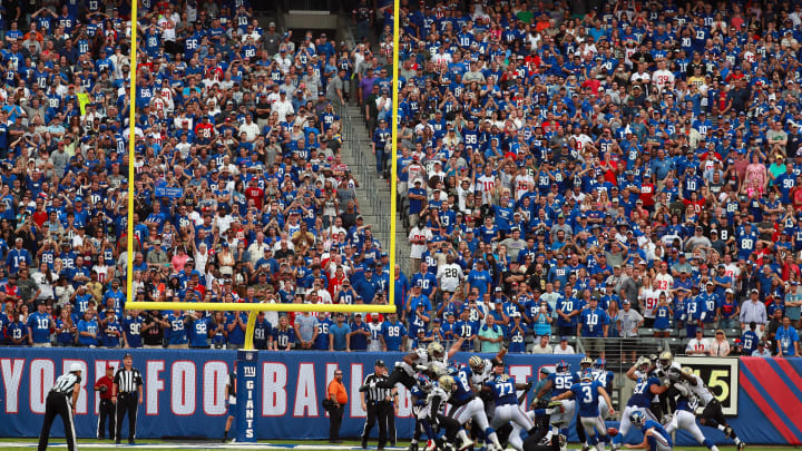 EAST RUTHERFORD, NJ - SEPTEMBER 18:  Kicker Josh Brown #3 of the New York Giants kicks the game-winning field goal against the New Orleans Saints in the fourth quarter at MetLife Stadium on September 18, 2016 in East Rutherford, New Jersey. The New York Giants won 16-13.  (Photo by Michael Reaves/Getty Images)