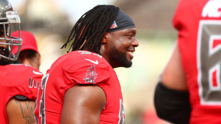 TAMPA, FLORIDA - DECEMBER 09:  Gerald McCoy #93 of the Tampa Bay Buccaneers looks on during warm-ups before a game against the New Orleans Saints at Raymond James Stadium on December 09, 2018 in Tampa, Florida. (Photo by Will Vragovic/Getty Images)