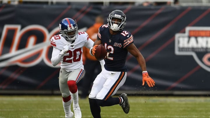 CHICAGO, ILLINOIS - NOVEMBER 24:  Allen Robinson #12 of the Chicago Bears runs for yards during a game against the New York Giants at Soldier Field on November 24, 2019 in Chicago, Illinois.  The Bears defeated the Giants 19-14.  (Photo by Stacy Revere/Getty Images)