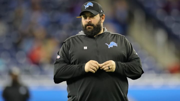 DETROIT, MI - OCTOBER 27: Head coach Matt Patricia of the Detroit Lions looks on during warm ups before the game against the New York Giants at Ford Field on October 27, 2019 in Detroit, Michigan. (Photo by Rey Del Rio/Getty Images)