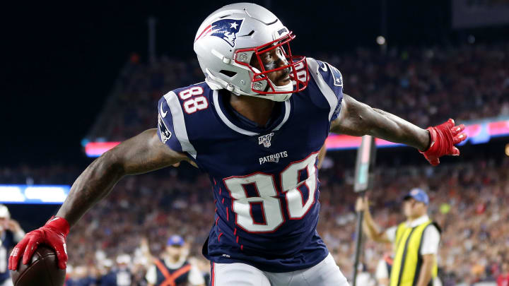 FOXBOROUGH, MASSACHUSETTS - AUGUST 29: Demaryius Thomas #88 of the New England Patriots celebrates after scoring a touchdwon during the preseason game between the New York Giants and the New England Patriots at Gillette Stadium on August 29, 2019 in Foxborough, Massachusetts. (Photo by Maddie Meyer/Getty Images)
