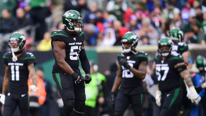 EAST RUTHERFORD, NEW JERSEY - NOVEMBER 10: Brandon Copeland #51 of the New York Jets reacts during the first half of their game against the New York Giants at MetLife Stadium on November 10, 2019 in East Rutherford, New Jersey. (Photo by Emilee Chinn/Getty Images)
